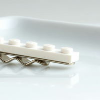 White Lego Tie Clip for Weddings Fun & Special Occasions, more colours available