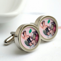 Vintage Erotic Pin Up Cufflinks - Black Corset and Stockings