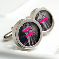 Vintage Erotic Nude Cufflinks - Pair of Nudes and a Motor Car
