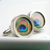 Peacock Feather Cuff links - for Something Blue for Weddings, Birthdays, Fun