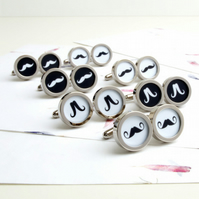 Big Mustache Cufflinks in Black and White, Can be made in your choice of colours