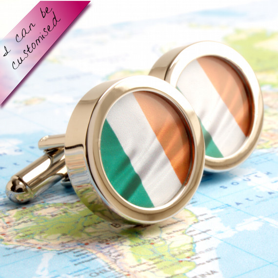 Flag of Ireland Cuff Links Luck of the Irish - or Choose Your Flag
