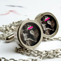 Bondage Cuff Links of Victorian Woman Chained to a Tree, Fine Vintage Fun