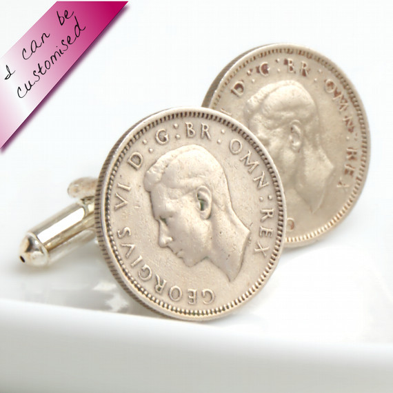 Lucky Silver Sixpence Coin Cuff Links from Old English Coins
