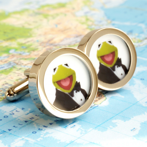Kermit Cufflinks from the Muppet Show - Kermit as the Spy James Bond