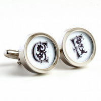 Monogram Cufflinks with Initials in Letters from the 11th Century