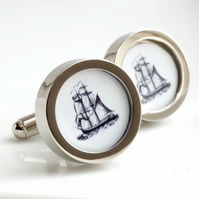 Vintage Sailing Ship Cufflinks - Old World Sailing Charm