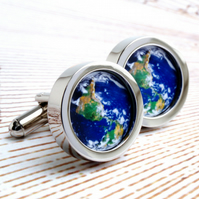 The World from Space Cufflinks - the World in Your Hands