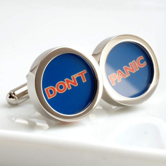 Don't Panic Cufflinks - Great Advice from Hitch Hiker's Guide to the Galaxy