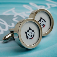 Felix Cat Cufflinks Vintage Cartoon Cufflinks for Cool Cats Gift for Men