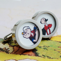 Popeye and Olive Oil Cuff Links Cartoon Cufflinks
