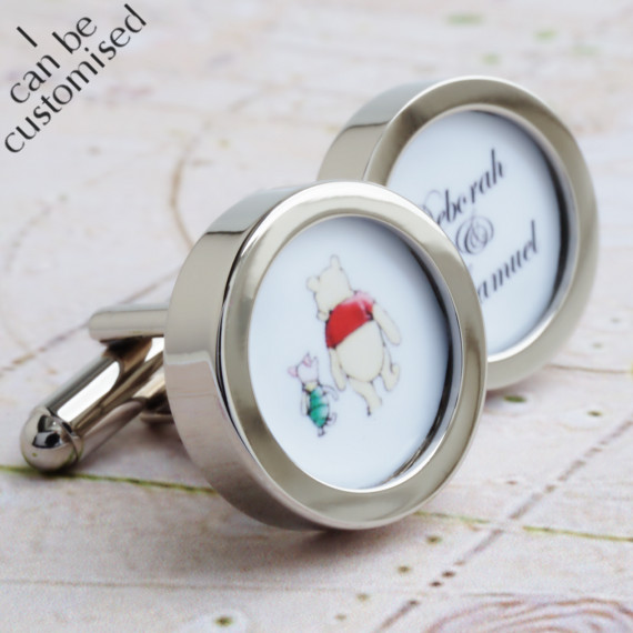 Winnie the Pooh and Piglet Custom Cufflinks with Names of the Bride and Groom -