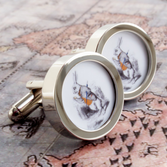 The White Rabbit Cufflinks from Alice in Wonderland - Late for a Very Important
