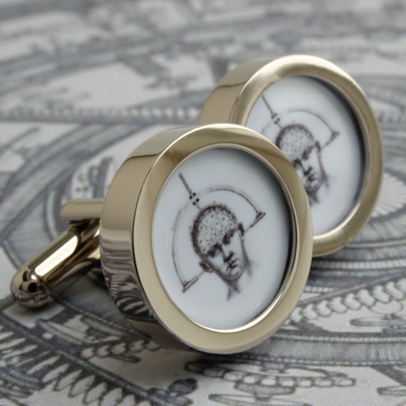 Cranium Steampunk Brain Cufflinks Vintage Science