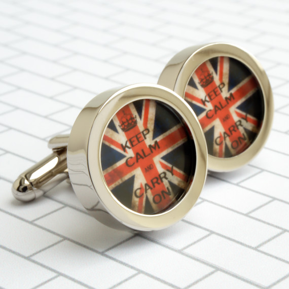 Keep Calm and Carry On Cufflinks on a Vintage Union Jack Background