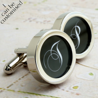 Single Initial Cufflinks, Monogrammed Cufflinks in Your Choice of Colour