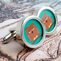 Owl Cuff Links Cartoon Cufflinks Original Artwork