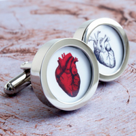 Anatomical heart cufflinks Gift for Men, Weddings, Grooms, Anniversary