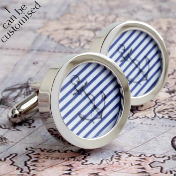 Vintage Striped Anchor Cufflinks Nautical and Seaworthy