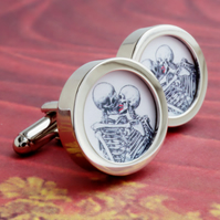 Kissing Skeletons Cuff Links
