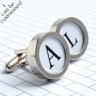 Initial Cufflinks Personalised Elegant Monogram Cufflinks Your Choice of Colour