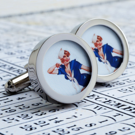 Pinup Sailor Girl Cuff Links 1950s Vintage All American Pin Up  Land Ahoy! Cuffl