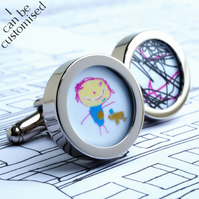 Personalised Father's Day Gift Custom Cufflinks of Your Children's Drawings
