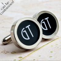 2 Initial Monogrammed Cufflinks 1920s Style