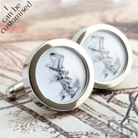 The Mad Hatter Cufflinks from Alice in Wonderland