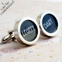 Legendary Cufflinks in Black for Grooms, Weddings and Romance 1920s Style
