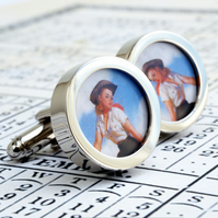 Pinup Cufflinks of an American Cowgirl, 1950s Kitch and Fun Cufflinks