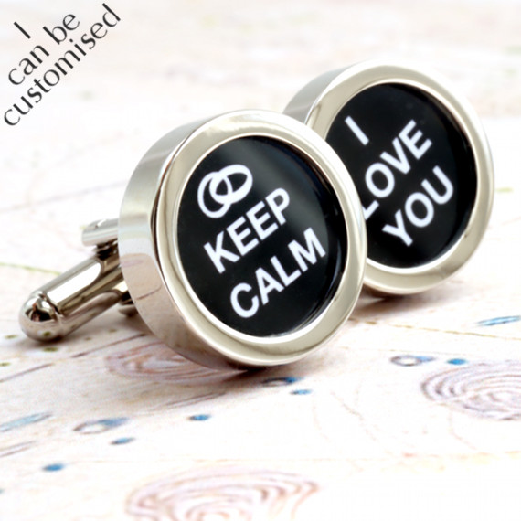 Wedding Cufflinks - Keep Calm I Love You for Weddings and Romance