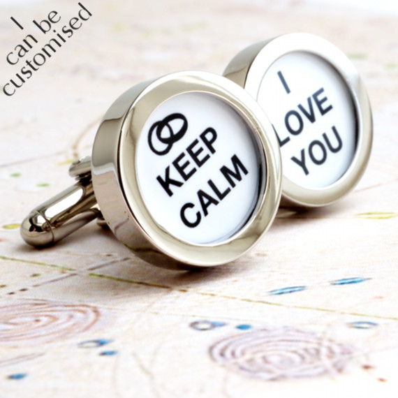 Groom Cufflinks - Keep Calm I Love You for Weddings and Romance