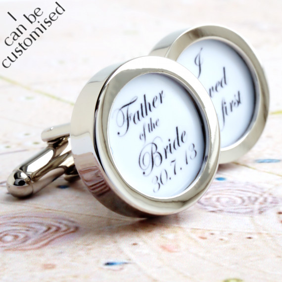 Custom Father of the Bride Cufflinks 'I loved her first' with Wedding Date