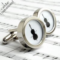 Cello Cufflinks in Black and White Silhouette for Musicians