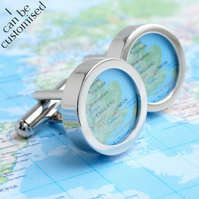 Custom Map Cufflinks of Anywhere in the World - Choose Your Location