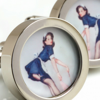 Vintage Pinup Cufflinks of a Short Skirted Maid 1950s Kitch Fun Cuff Links