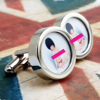 English Nude Cufflinks Pin Up Girl in Union Jack Knickers and Busby Cuff Links