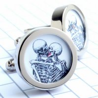 Skeletons Kissing Cuff Links