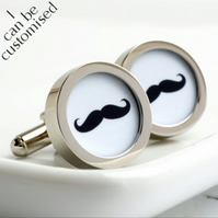 Moustache Cufflinks in Black and White - Keepsake Gift for Groom & Wedding Party
