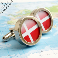 Flag of Denmark Cufflinks - or Choose Your Flag