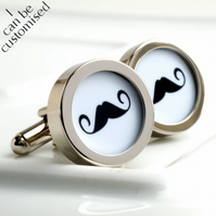 Moustache Cufflinks in Black and White - Keepsake, Birthday or Anniversary Gift