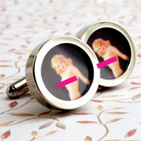 Nude Cuff Links, Vintage Inspired 1940s Naughtiness