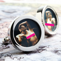 Erotic Vintage Nude Cuff Links, Naked 1920s Women Cufflinks