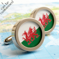Flag of Wales Cuff Links Welsh Dragon Cufflinks - or Choose Your Flag