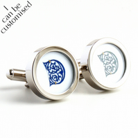Custom Initial Cufflinks 15th Century Letters in a Selection of Colours
