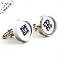 Monogram Cufflinks with Initials in 16th Century Letters