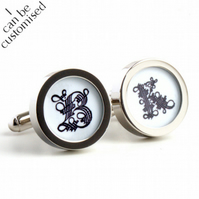 Monogram Cufflinks with Initials in Gothic Style - Colour can be Customised