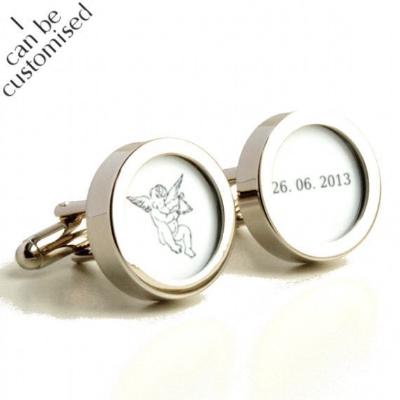 Custom Wedding Cufflinks with Cupid and the Wedding Date of the Bride and Groom