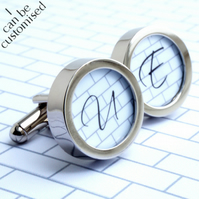 Monogram Cufflinks with Single Initial - Contemporary Style